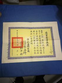 部长蒋经国、参谋总长、陆军一级上将彭孟缉、总司令、陆军二级上将刘安祺签发《陆军奖章执照》1965年5月,勋章编号:39496