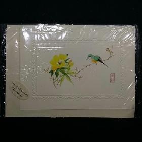 贺卡 80年代纯手工绘画一张一样 老工艺师出口创汇产品 值得收藏