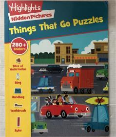 新品things that go puzzles 故事书带贴纸