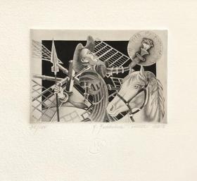 玛利亚•玛达(Maria Maddalena Tuccelli)藏书票版画原作《堂吉诃德》意大利  80X130mm