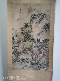 民国手绘老画:洗桐居士采白款《观瀑图》山水立轴,三尺大幅,画工精妙,文气蕴藉,民国货。