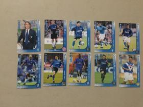 足球俱乐部球星卡:蓝色风暴系列(1.2.3.4.7.8.9.10.11.12)10张   九品