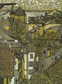 著名大连版画家、中国美协藏书票研究会常务理事 陈豪 2010年亲笔签名木版油印版画《欧洲小镇》一幅(版号随机,所售编号为19-38/50,作品得自于艺术家本人!)HXTX116654