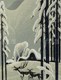 著名版画家、伊春市美协主席 崔正植 2011年亲笔签名 木版油印版画作品《瑞雪山庄》一幅(版号随机,所售编号:18-80/100,作品直接得自于艺术家本人!)HXTX116667