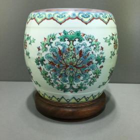 清代名家花卉斗彩瓷器鼓墩一件