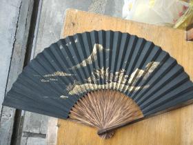泥金面黑纸扇一把 / 真金 小楷 并画杭州西湖/ 百年老字号王星记扇子