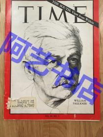 """【现货】时代周刊杂志 Time Magazine, 1964年,封面 """"(美国作家、1949年诺贝尔文学奖得主)威廉·福克纳,代表性作品《喧哗与骚动》,珍贵史料!"""
