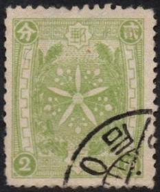 """满洲国邮票:第二版无国名通邮邮票2分 """"分""""无钩变体,"""