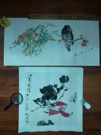 35:画家、书法家、美术评论家、学者张如学画作两件:65*33cm,44*44cm原装原裱(合售)