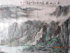 安泉岭作品:清江帆影(包真保值,流传有序)