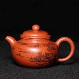台湾回流老紫砂壶清代独孔老茶壶孟臣款全手工朱泥泥绘山水掇球壶