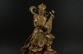 沙金精雕四大天王之-东方持国天王摆件