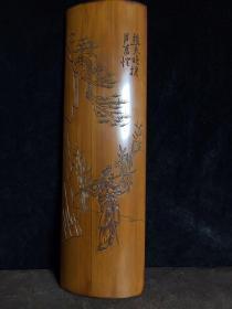 竹雕臂搁,长28厘米,宽8.5厘米,重160克,1