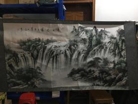 山东画家刘一民 山水画《巨幅 实物比图片漂亮》拍照光线太暗,  浙江美院流出  真假自鉴