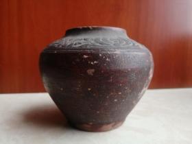 汉代山西地方陶器--------《红胎陶花纹罐》----少见稀缺----虒人荣誉珍藏