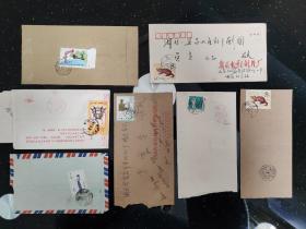 信封、封片简、实寄封、邮资封:信封上的邮票有1981年的 T68-紫貂、T60-宫灯、T69 红楼梦 12-5 探春结社、T65 8-3中国古代钱币、J65 4-4 全国安全月、T59 5-5 刻舟求剑  实寄封     有1封内有信笺     7封合售      文件夹026