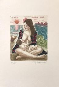 大卫•贝克(David Bekker)藏书票版画原作《母爱》乌克兰