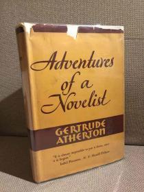Adventures of a Novelist(格特鲁德·阿瑟顿自传《小说家的冒险》,茅盾曾撰文介绍作者,配插图,布面精装大开本,难得带护封,毛边,1932年老版书,贴有藏书票)