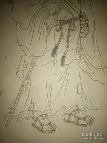民国天津名家张之洞侄孙张厚璜白描人物《张三丰》画像2平尺。铁线篆。品好。.