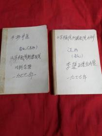 手抄中医笔记本。两本