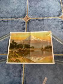 富士山 日本老风景画明治四十四年1911年大坂每日新闻发行