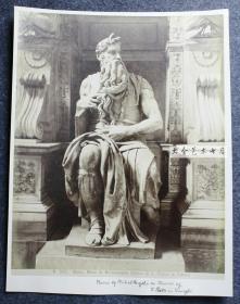 清代意大利梵蒂冈圣彼得大教堂中的宙斯雕像,米开朗基罗作品,大幅蛋白照片,26X20.4厘米