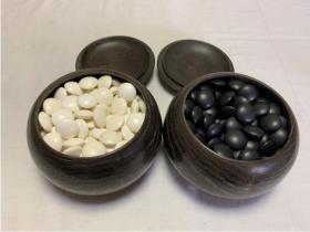 天然围棋   蛤蜊白石  那智黑石   木罐   老围棋子