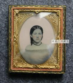 150年古董照片,安布罗夫法照片,具有浮雕效果的少女肖像