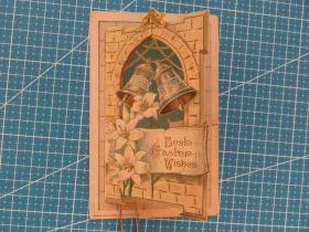 1910年左右美国(铃铛和鲜花)凸版、翻页折叠式--圣诞祝福--实寄贺卡明信片贴邮票(10)