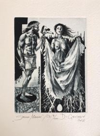 德西斯拉夫•金彻夫(Desislav Gechev)藏书票版画原作《天鹅面具》保加利亚 125X95mm