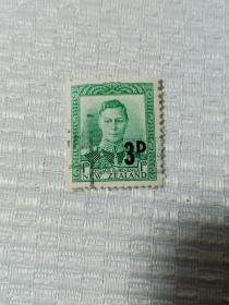 """新西兰早期邮票 改值邮票 加盖""""3D""""乔治六世像 背面五星水印雕刻版 乔治六世(1895年12月14日-1952年2月6日),英国国王,乔治五世次子,退位的爱德华八世之弟。1936年12月11日至1952年2月6日在位。他是最后一位印度皇帝(1936-1947)、最后一位爱尔兰国王(1936-1949),以及唯一一位印度自治领国王(1947-1949)。英国国王邮票"""