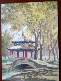 新疆名画乌鲁木齐市人民公园风景