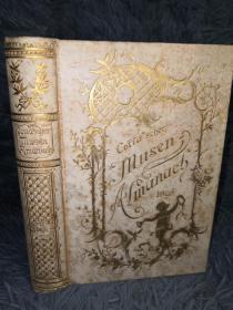 1896年  Cottascher Musen-Almanach für das Jahr  烫金书脊及封面  三面刷金 插图版  15.5X11CM