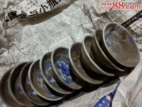 旧藏景德镇人民瓷厂《青花款楼阁碟》直径7cm---------保真,5个合售价。