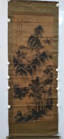 锦波《山水图》1923年原装裱纸本锦裱无天杆,品相如图多处折痕,保老保手绘真迹作品,慎拍,不退。尺寸:134 x 51 cm。