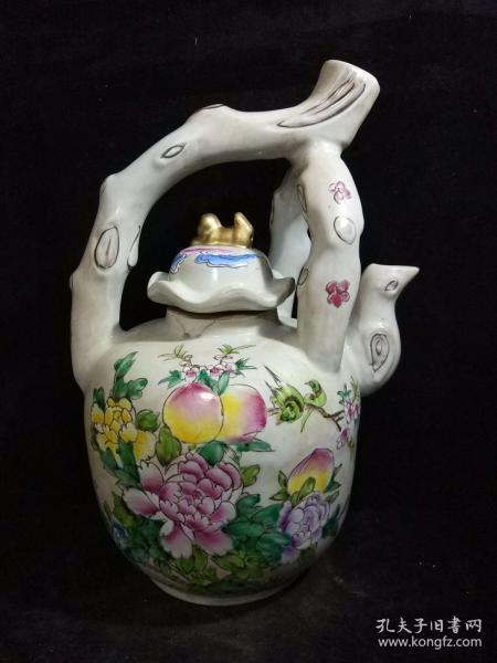 大清道光年制粉彩大樹根茶壺一把 純手工繪畫 造型獨特新穎,非常大氣  ,品相完美,高約40厘米,直徑約20厘米