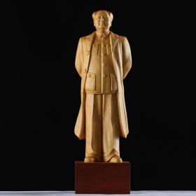 黄杨木雕实木毛主席全身雕像