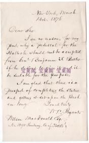 """""""美国的华兹华斯 """"美国自然主义诗人 威廉·卡伦·布莱恩特 William Cullen Bryant 1876年亲笔信"""