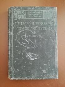 清末百年老书!MILTONS LALLEGRO, IL PENSEROSO 弥尔顿:快乐颂、沉思颂(1900年英文原版书,米尔顿诗集,布面硬精装,扉页一幅弥尔顿肖像画)