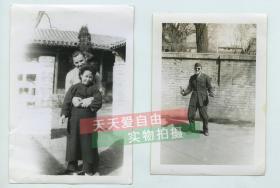 民国驻守华美国士兵个人照片以及与一士兵和中国情妇合影老照片共计两张