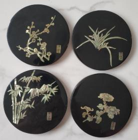 扬州漆器 嵌螺钿梅兰竹菊  q33