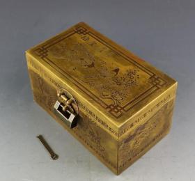 《喜鹊登梅》 铜首饰盒 【自带铜锁】