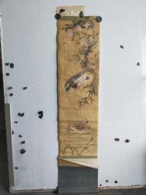 至少到民国的绢本老画  双鸭图 作者不识  裱头损坏 尺寸88x26