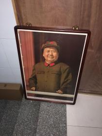 毛主席像宣传画带框毛泽东画像毛主席笑眯眯军装2开,即80厘米x55厘米)