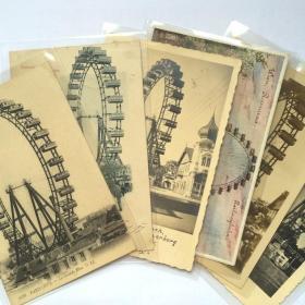 老明信片 旧明信片 古董明信片 vintage 欧洲 奥地利 维也纳摩天轮 实寄片 6张一套