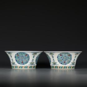斗彩花卉纹马蹄碗