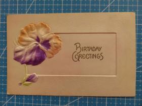 1910年左右美国(花朵)凸版浮雕、节日祝福--手写明信片(44)