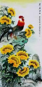 名家方楚雄国画公鸡向日葵字画纯手绘