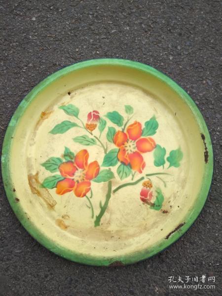 55年搪瓷花卉大盘.