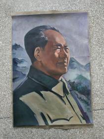 文革时期:手绘毛主席半侧面肖像油画